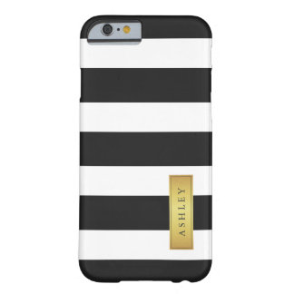 Classic Black White Stripe Pattern Gold Label Name Barely There iPhone 6 Case