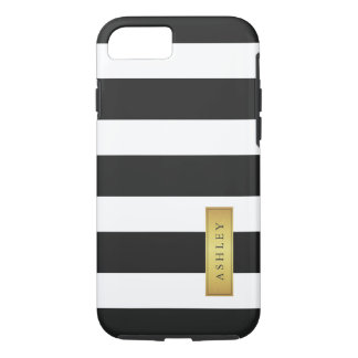 Classic Black White Stripe Pattern Gold Label Name iPhone 7 Case