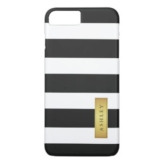 Classic Black White Stripe Pattern Gold Label Name iPhone 7 Plus Case