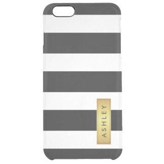 Classic Black White Stripe Pattern Gold Label Name Uncommon Clearly™ Deflector iPhone 6 Plus Case