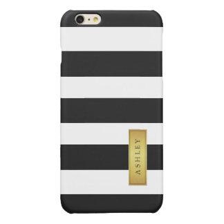 Classic Black White Stripe Pattern Gold Label Name Glossy iPhone 6 Plus Case