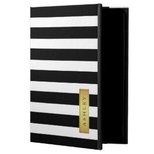 Classic Black White Stripe Pattern Gold Label Name Powis Ipad Air 2 Case at Zazzle