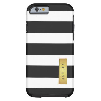 Classic Black White Stripe Pattern Gold Label Name Tough iPhone 6 Case