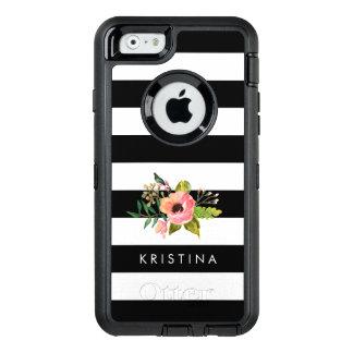 Classic Black White Stripes Floral Custom Name OtterBox Defender iPhone Case