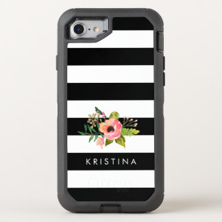 Classic Black White Stripes Floral Name OtterBox Defender iPhone 7 Case
