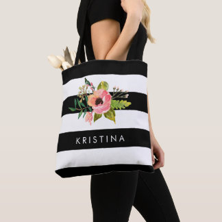 Classic Black White Stripes Floral Shopping Bag