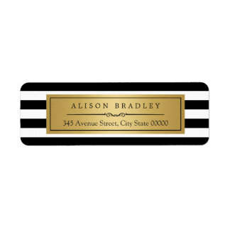 Classic Black White Stripes Gold Label