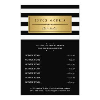 Classic Black White Stripes Gold Service Menu