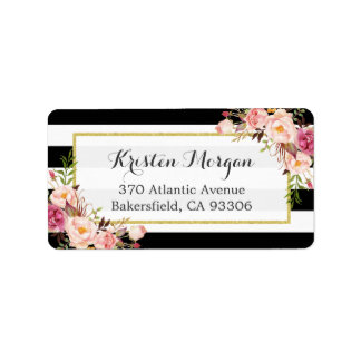 Classic Black White Stripes Pink Floral Decor Label