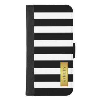 Classic Black White Stripes with Gold Label Name iPhone 8/7 Plus Wallet Case