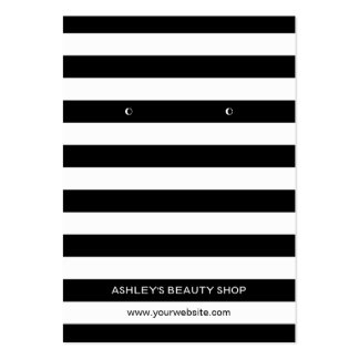 Classic Black White Strips Earring Display Cards Large Business Cards (Pack Of 100)
