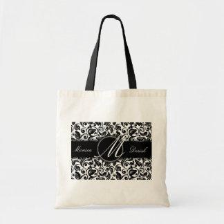 Classic black & white wedding bag
