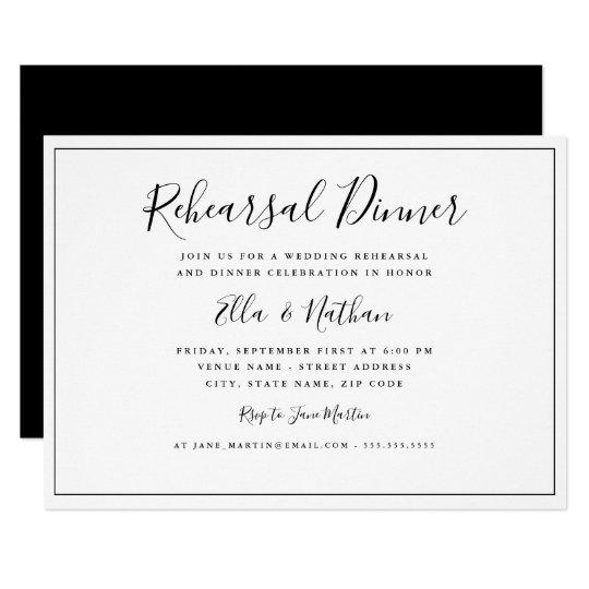 Classic Black White Wedding Rehearsal Dinner Invitation