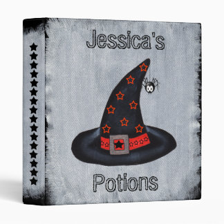 Classic Black Witch Hat Orange black Stars Potions 3 Ring Binder