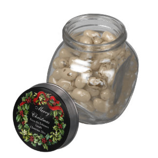 Classic Black with Christmas Holly Wreath Glass Jars