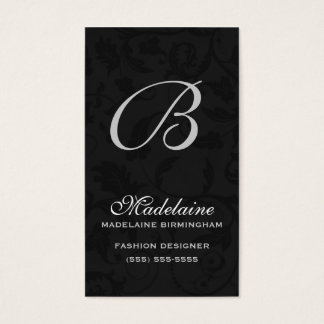 Classic Black with Silver Damask Monogrammed Business Card