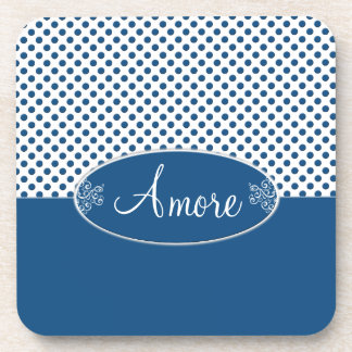 Classic Blue and Polka Dots Amore Beverage Coaster