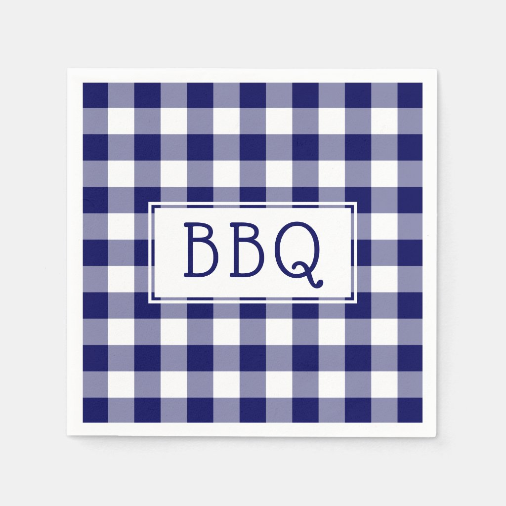 Classic Blue and White Gingham Pattern BBQ Party Napkin