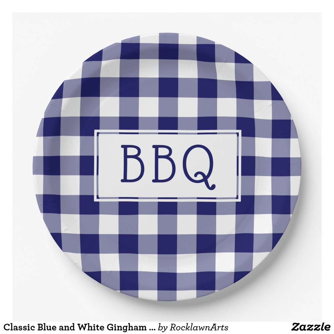Classic Blue and White Gingham Pattern BBQ Party Paper Plate