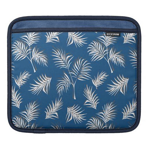 Classic Blue and White Palm Leaf Print iPad Sleeve