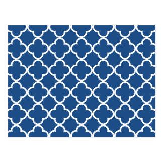 Classic Blue and White Quatrefoil Moroccan Pattern Postcard