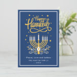 "Classic Blue and Yellow Menorah Happy Hanukkah Holiday Card<br><div class=""desc"">Send your Wishes with this Holiday Card that feature a Stunning Happy Hanukkah Script and Menorah Candles to highlight your greeting message.</div>"