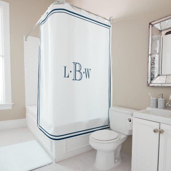 Classic Blue Border Monogrammed Shower Curtain