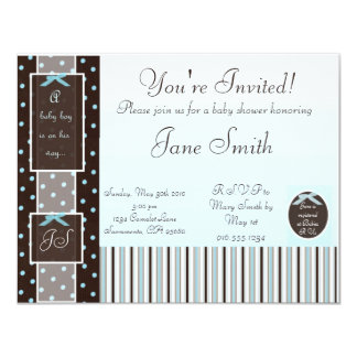 Classic Blue Boy Baby Shower Invitation