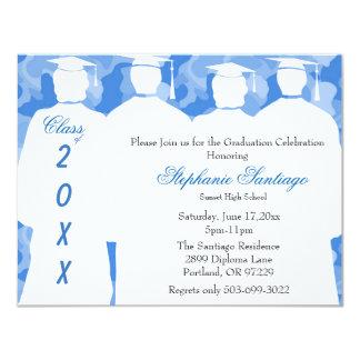 Classic Blue Camo Elegant Graduation Invitation