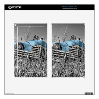 Classic Blue Car Black and White Field Decal For Kindle Fire