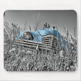 Classic Blue Car Black and White Field Mouse Pad