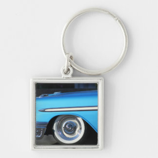 Classic Blue car Silver-Colored Square Keychain