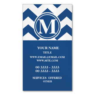 Classic Blue Chevron Monogrammed Magnetic Business Card