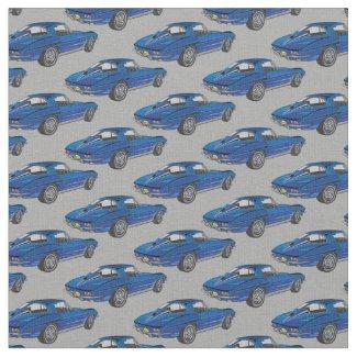 Classic Blue Corvette Design Fabric