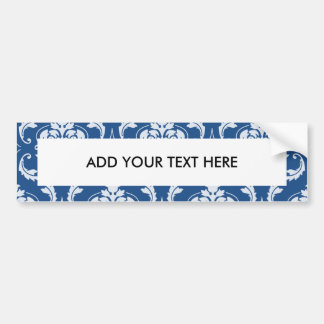 Classic Blue Damask Pattern Bumper Sticker