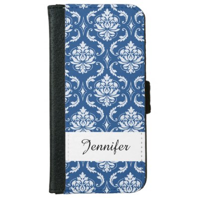 Classic Blue Damask Pattern iPhone 6/6S Wallet Case