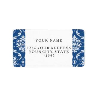 Classic Blue Damask Pattern Address Label