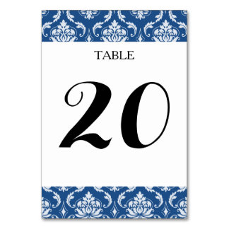 Classic Blue Damask Pattern Table Card