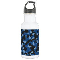 Classic Blue - Dusk Blue Camouflage Pattern Water Bottle