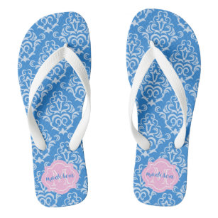 9208137c7 Classic Blue French Damask With Dots And Monogram Flip Flops