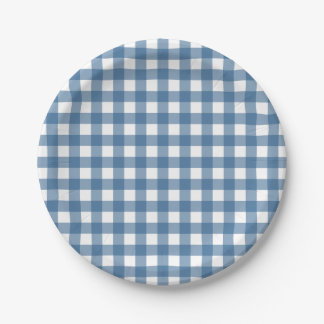 Classic Blue Gingham Pattern Paper Plate