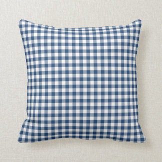 Classic Blue Gingham Pattern Throw Pillow