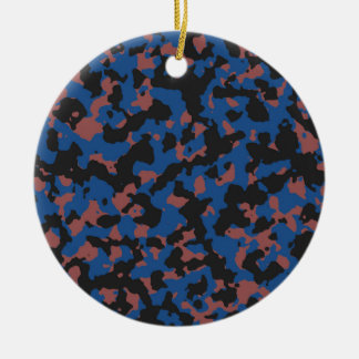 Classic Blue - Marsala Camouflage Pattern Double-Sided Ceramic Round Christmas Ornament