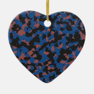 Classic Blue - Marsala Camouflage Pattern Double-Sided Heart Ceramic Christmas Ornament