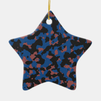 Classic Blue - Marsala Camouflage Pattern Double-Sided Star Ceramic Christmas Ornament