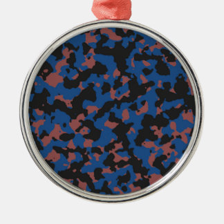 Classic Blue - Marsala Camouflage Pattern Round Metal Christmas Ornament