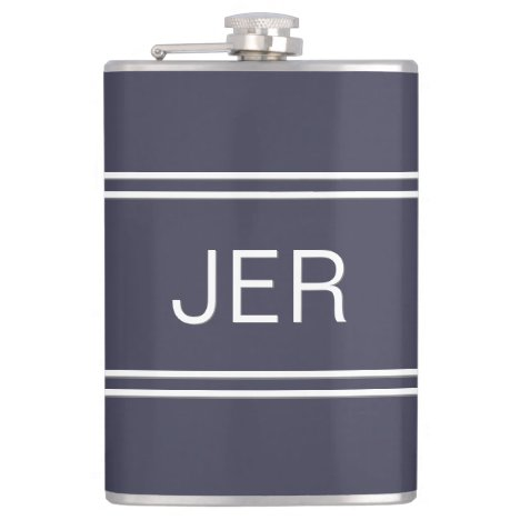 Classic Blue Personalized Monogram Initials Drink Flask