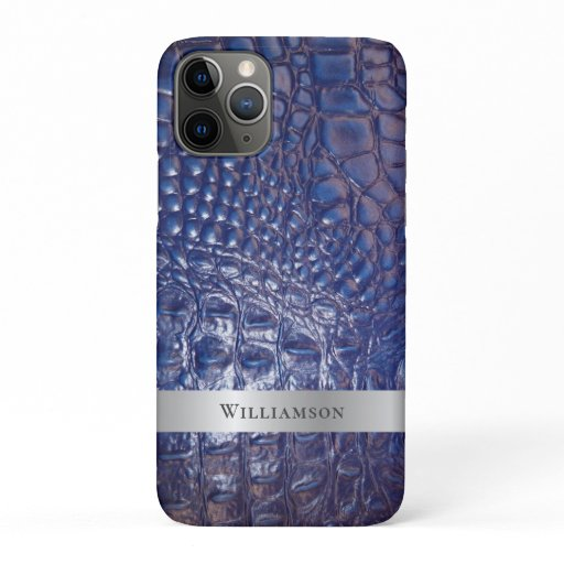 Classic Blue Reptile Digital Leather Silver Metal iPhone 11 Pro Case