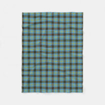 Classic Blue Scottish Clan Bell Tartan Plaid Fleece Blanket
