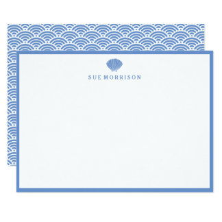 """Classic Blue Seashell Personalized 5x3"""" Stationery Card"""